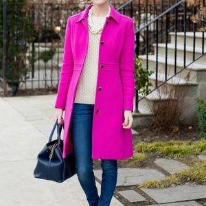 J Crew Hot Pink Trench coat Jacket